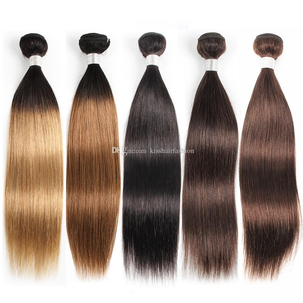 1 Bundle Straight Ombre T1B27 Honey Blonde 1B30 #2 #4 Dark Brown Remy Brazilian Indian Peruvian Malaysian Human Hair Weaves