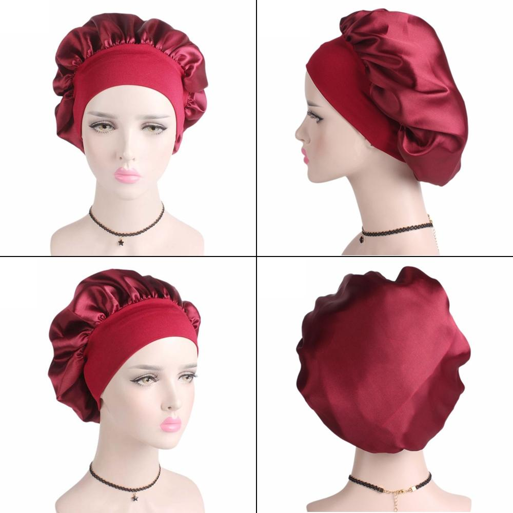 1Pc 56-58cm Solid Color Langhaarpflege Frauen Satin Bonnet Cap Nachtschlaf Hut Silk-Kopf-Verpackung anpassen Dusche Caps Andere Bad Toilette Supplies