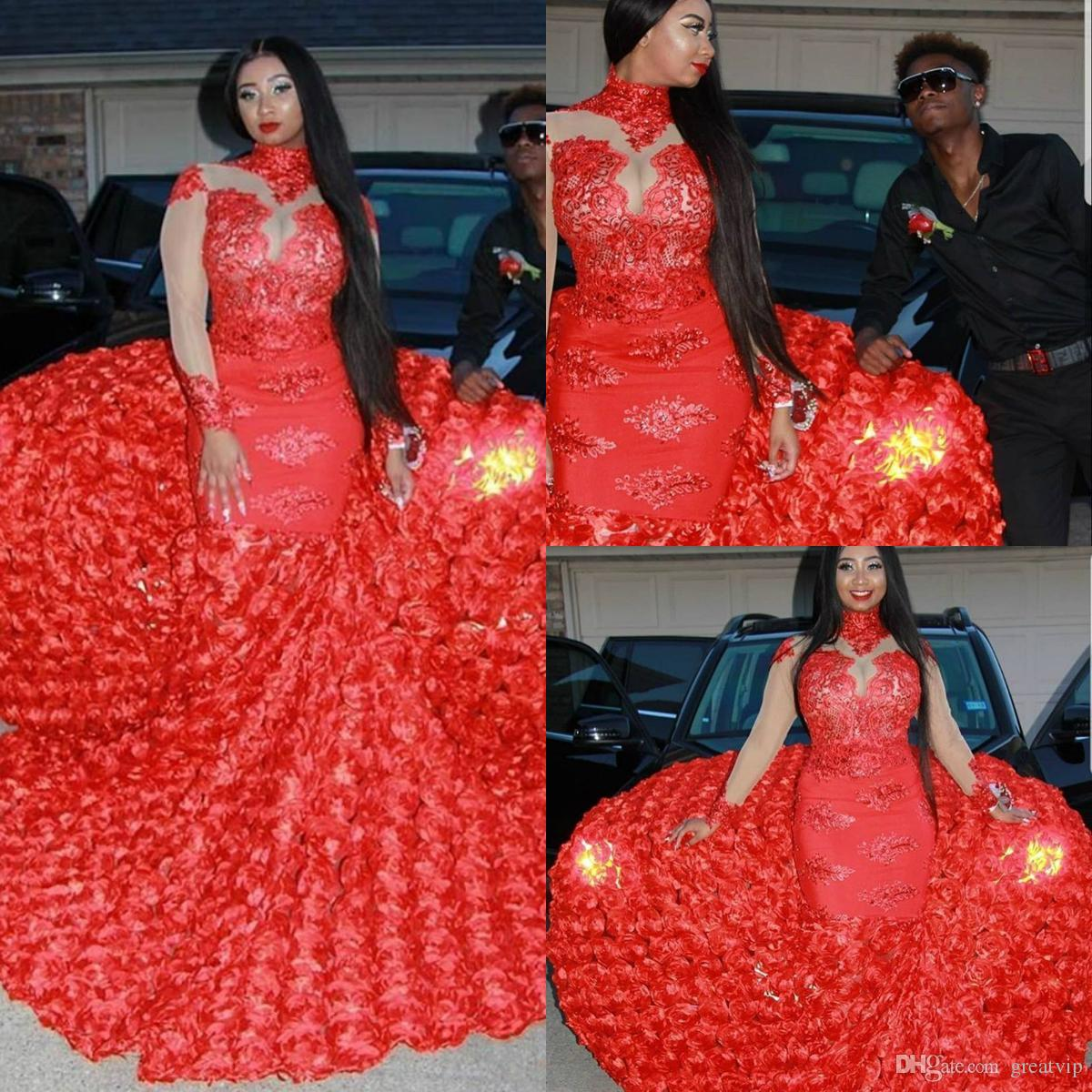 Red High Neck Mermaid Prom Dresses Black Girls African Long Sleeves Petal Flowers Rose Ruffle Evening Gowns Plus Size Special Occasion Dress