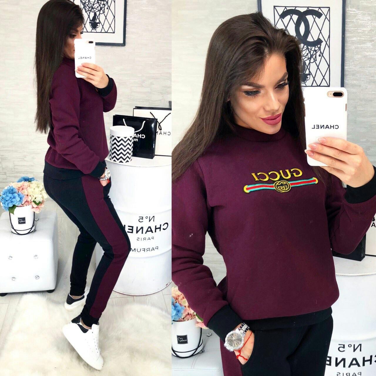 el color de las mujeres europeas y americanas bloquear la impresión de lana marca suéter ocasional determinado de los pantalones conjunto