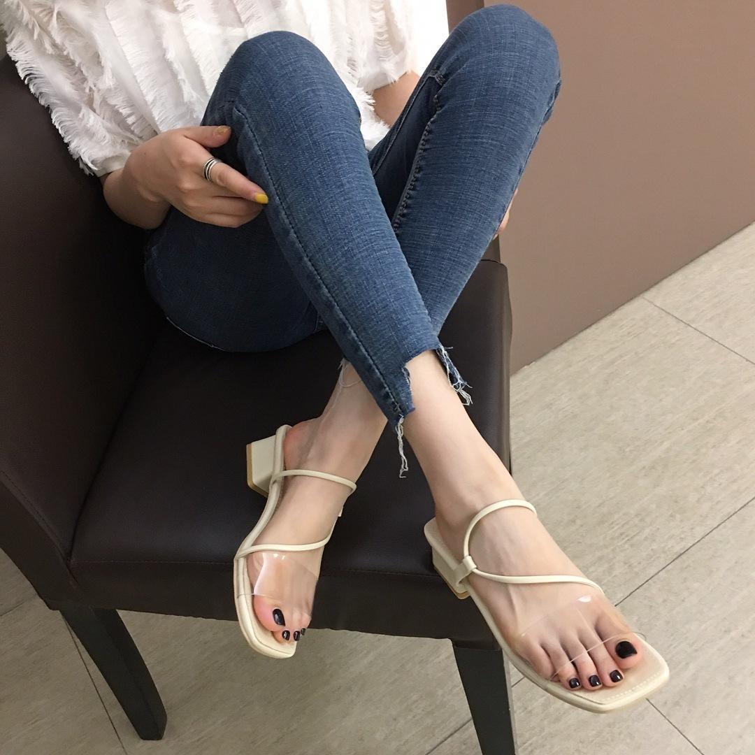 Pretty2019 Design Pantoufle Carrée Deux Pierce Travers Détaillez Brut Avec Sandales Chaussures Femmes