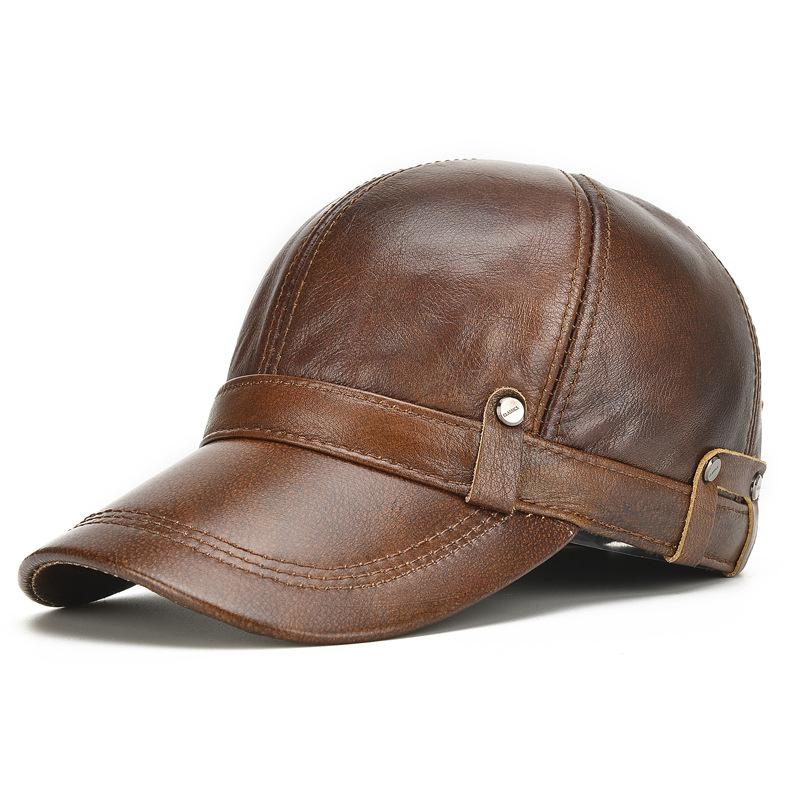 2017 новые зимние шапки с ушами мужские подлинные воловья кожа бейсболки шляпа мужчины