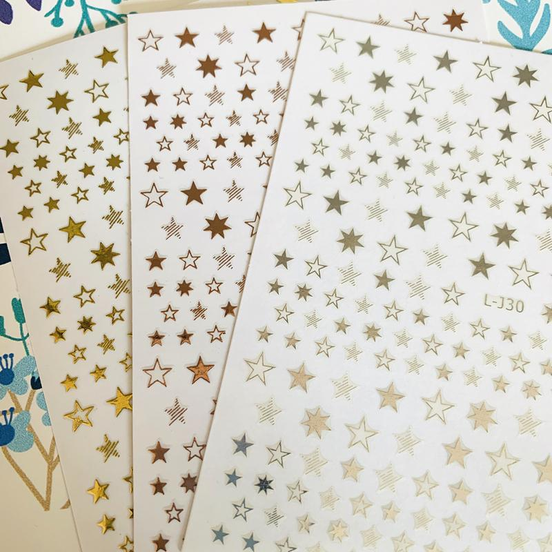 Newest L-J30 star 3d nail art sticker nail decal stamping export japan designs rhinestones decorations