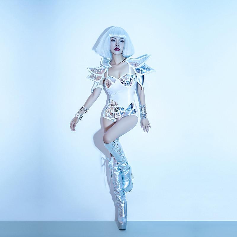 Y95 Partido salão de baile dança traje do estágio mulheres sexy espelho de prata bodysuit pole dance dress dj jumpsuit bar desgaste outfit cantor festa vestir