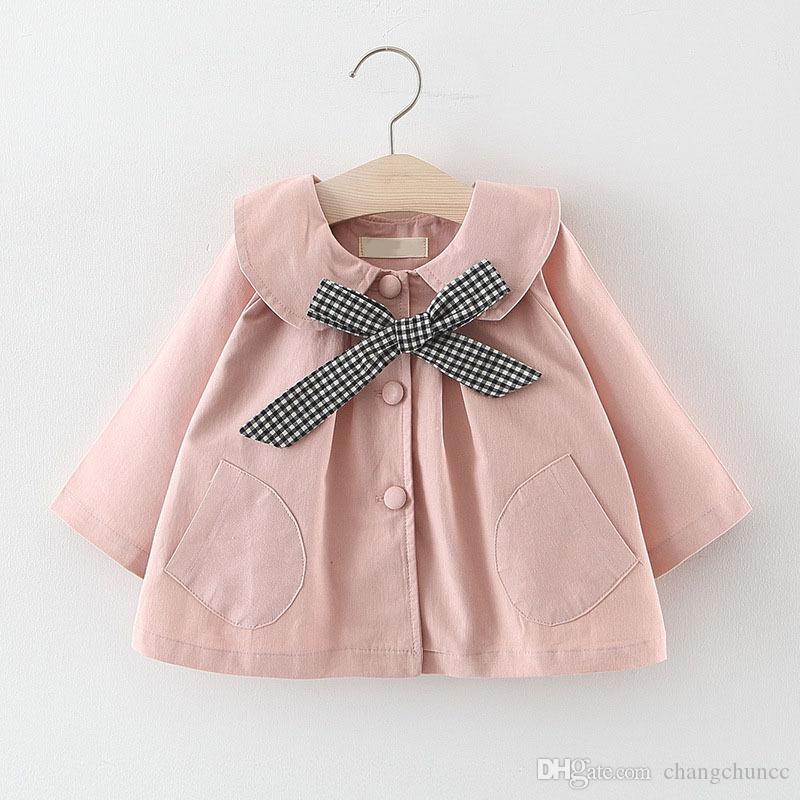 Vêtements pour enfants Princesse manteau petites filles printemps et manteau automne bébé mode mignon veste coupe-vent bébé avec l'arc de grille