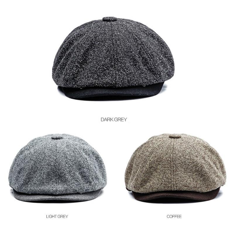 Simple Men sólido de lana de fieltro del color Gatsby boinas casquillo al aire libre Campo de taxista del vendedor de periódicos del sombrero