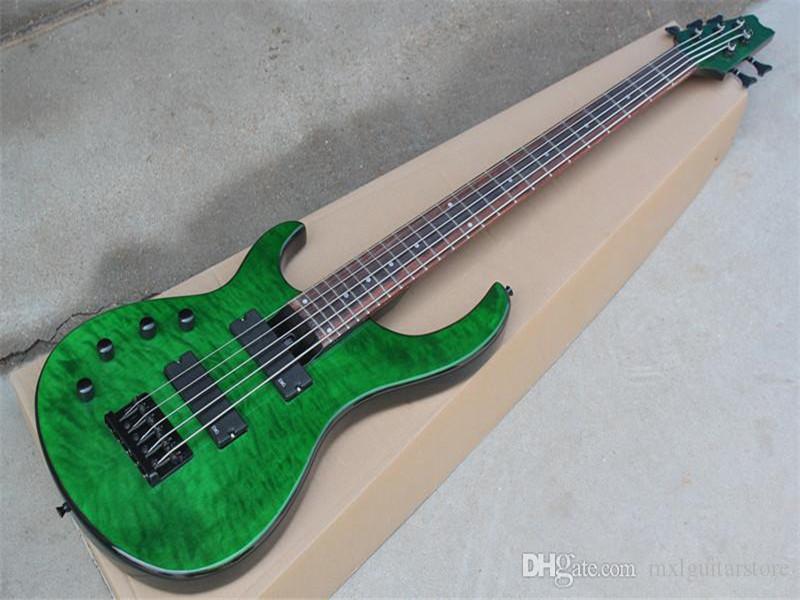Yeşil Renk 5 Strings Elektrik Bas Gitar Gülağacı Klavye, Siyah Bağımlılar, Alev Maple Kaplama, Özelleştirilmiş Teklif