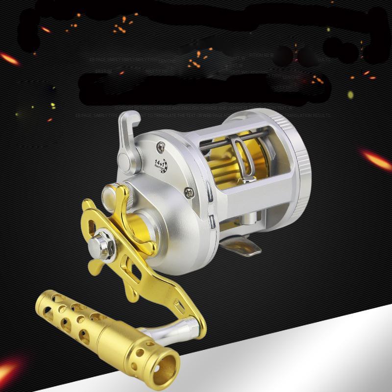 1000-4000 سلسلة التصيد بكرات 14 + مقبض 1BB المعدنية التقليدية القفز لعبة كبيرة بكرة الصيد للصيد البحري في المياه المالحة