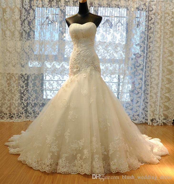Real Picture Sexy Mermaid Lace Wedding Dresses With Applique Sleeveless Backless Mermaid Wedding Gowns Long Bridal Dresses