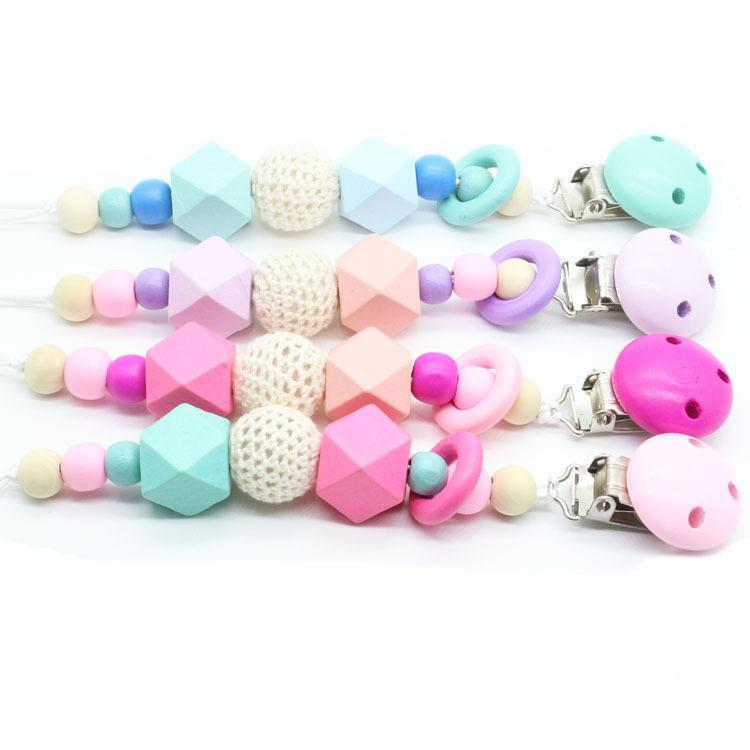 4 Colors Baby Clip Chain Holder Wood Beaded Pacifier Soother Holder Clip Nipple Teether Dummy Strap Chain