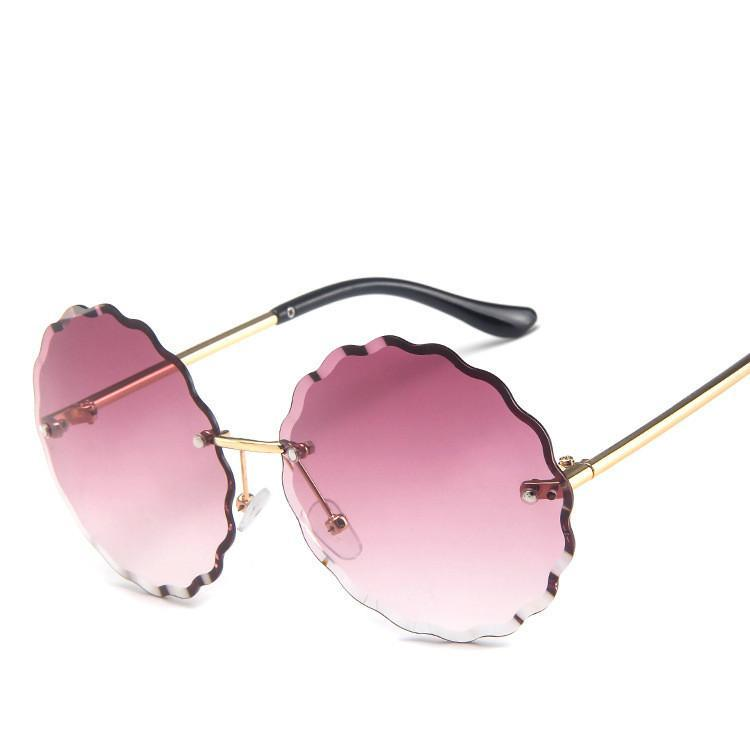 Blume Frameless Sonnenbrille Frauen-Weinlese Stilvolle Metalsunglasses Damen Blumen-Frauen Sun-Glas Farbe Ocean Stück Sonnenblende