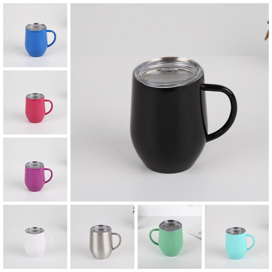 12oz hueveras con la manija 12 oz capa de acero inoxidable taza de café Vasos con tapa de doble aislamiento Copa Vasos RRA2836-2