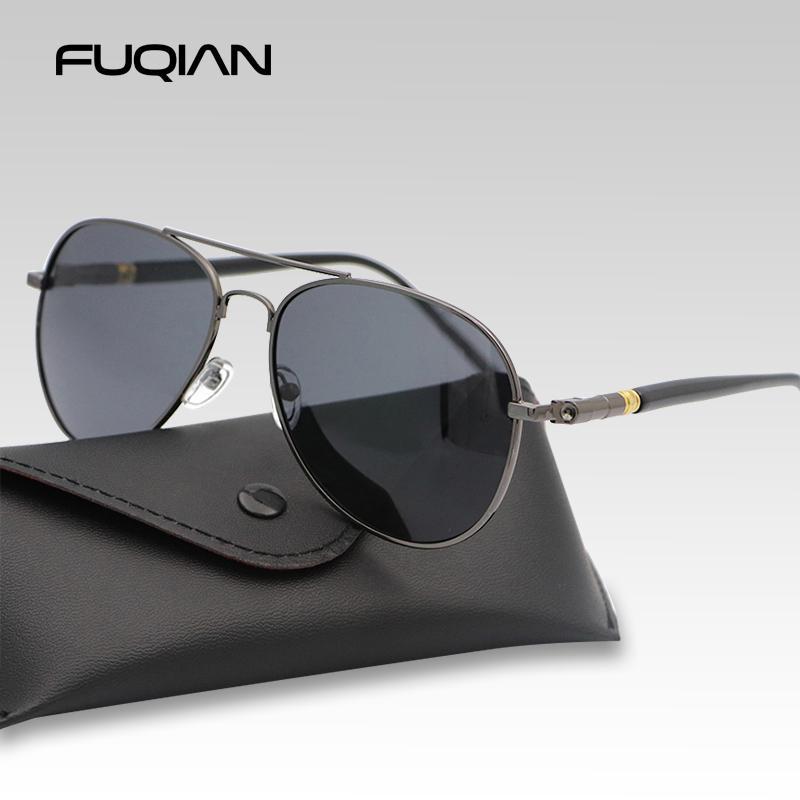 Fuqian Moda Pilot Erkekler Polarize Güneş Gözlüğü Büyük Boy Metal Havacılık Erkek Güneş Gözlükleri Klasik Siyah Sürüş Shades UV400