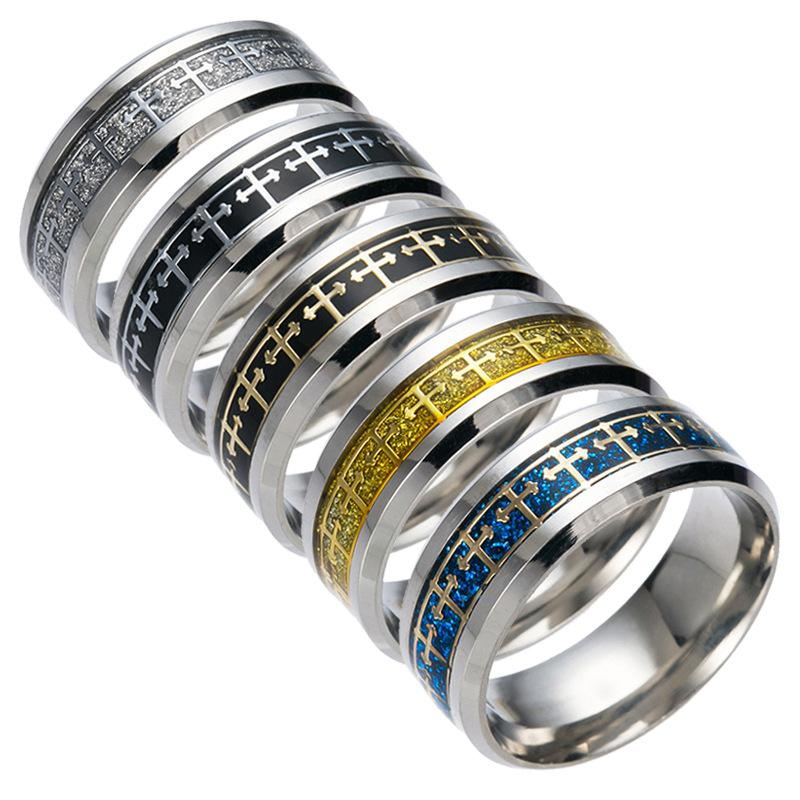Titanium aço inoxidável jesus cruz anel de dedo anel de prata cruz de ouro banda anéis para mulheres homens acreditam religião jewely cair nau 080175