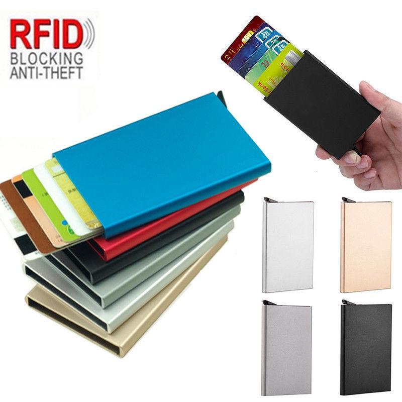 새로운 자동 Silde 알루미늄 ID 현금 카드 홀더 남성 비즈니스 RFID 차단 지갑 신용 카드 프로텍터 케이스 포켓 지갑
