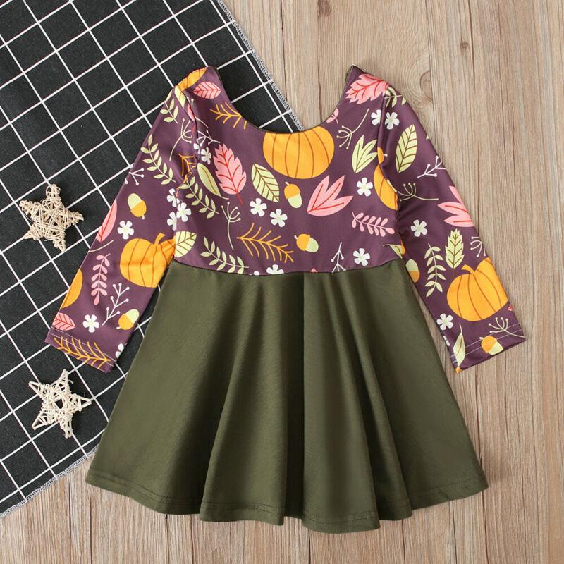 Emmababy Halloween mignon robe à manches longues filles bébé élégante citrouille Robe bébé Filles Outfit Vêtements 1-6T Casual Dropsjipping