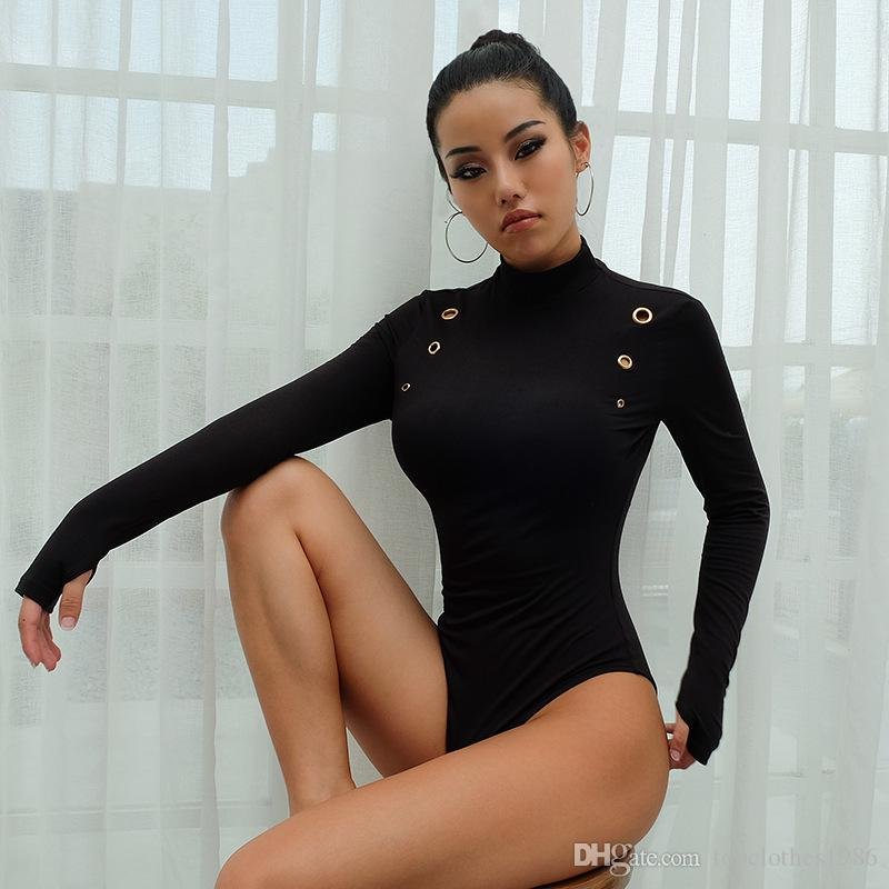 2019New Sıcak Bayanlar Seksi Romper Moda Kadınlar Uzun Kollu Gömlek Tulum bodysuit Sıcak Stretch Kazak Leotard Bluz Siyah S L