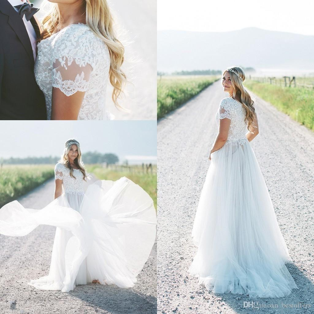 Modest New Beach Boho Wedding Dresses 2019 Short Sleeves Plus Size Bridal Gowns Bohemia Wedding Gowns vestido de novia