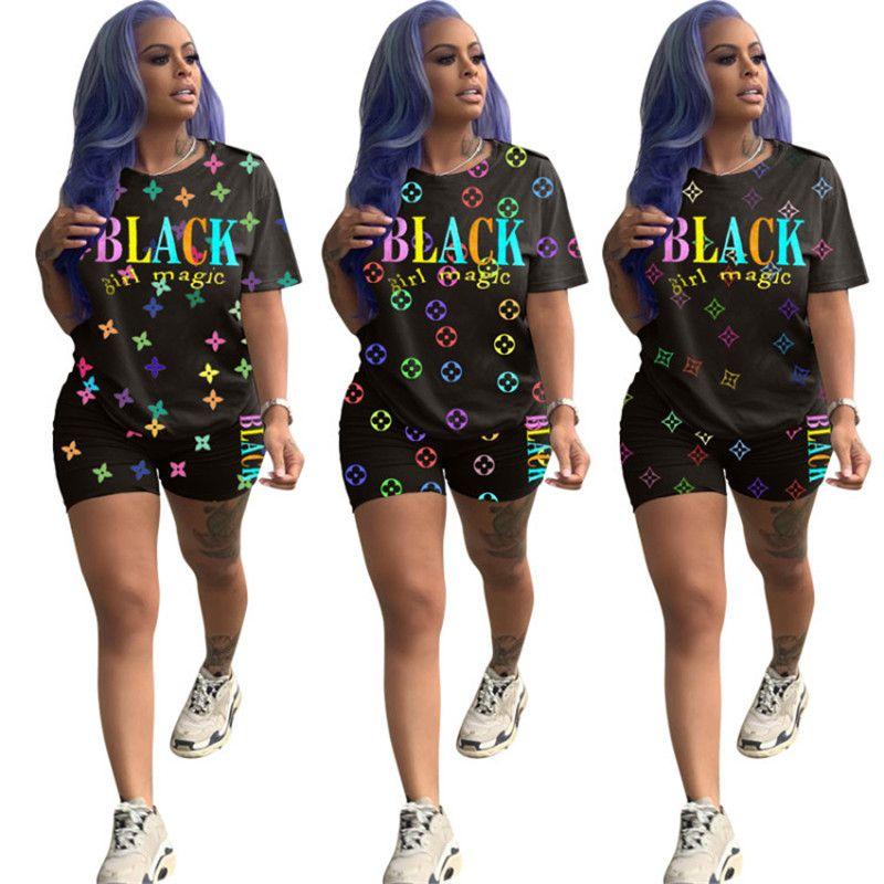 Modedesigner Damen Shorts Anzug Brief-Druck-Sommer Kurzarm T-Shirt Tops + Shorts 2-teiliges Set Outfits lässige Sportswear-Bekleidung