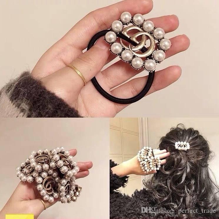 Hot Sale Designer Headband Mulheres Luxo elásticos de cabelo Pérola cabelo Crystal Corda famosa carta Elastic cabelo Ties Moda Jóias