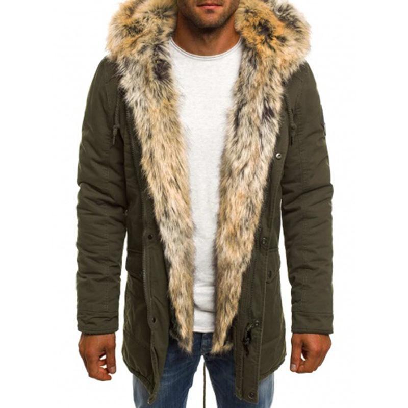 Mens Green Parka Jacket Fur