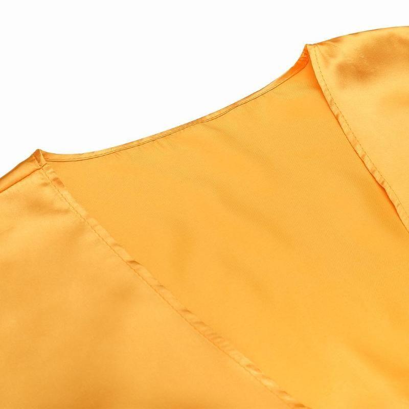 Kadınlar Uzun Kollu Açık Ön Bölünmüş Uzun (No Kuşak) Plaj Doğal Bikini Cover Up Hırka Doğal Renk Katı