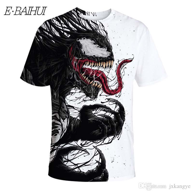 E-BAIHUI Venom Camisetas Hombre Algodón Anime Camiseta Estampada Fresca Unisex Streetwear Hip Hop Verano Hombre Tops Camiseta AK011