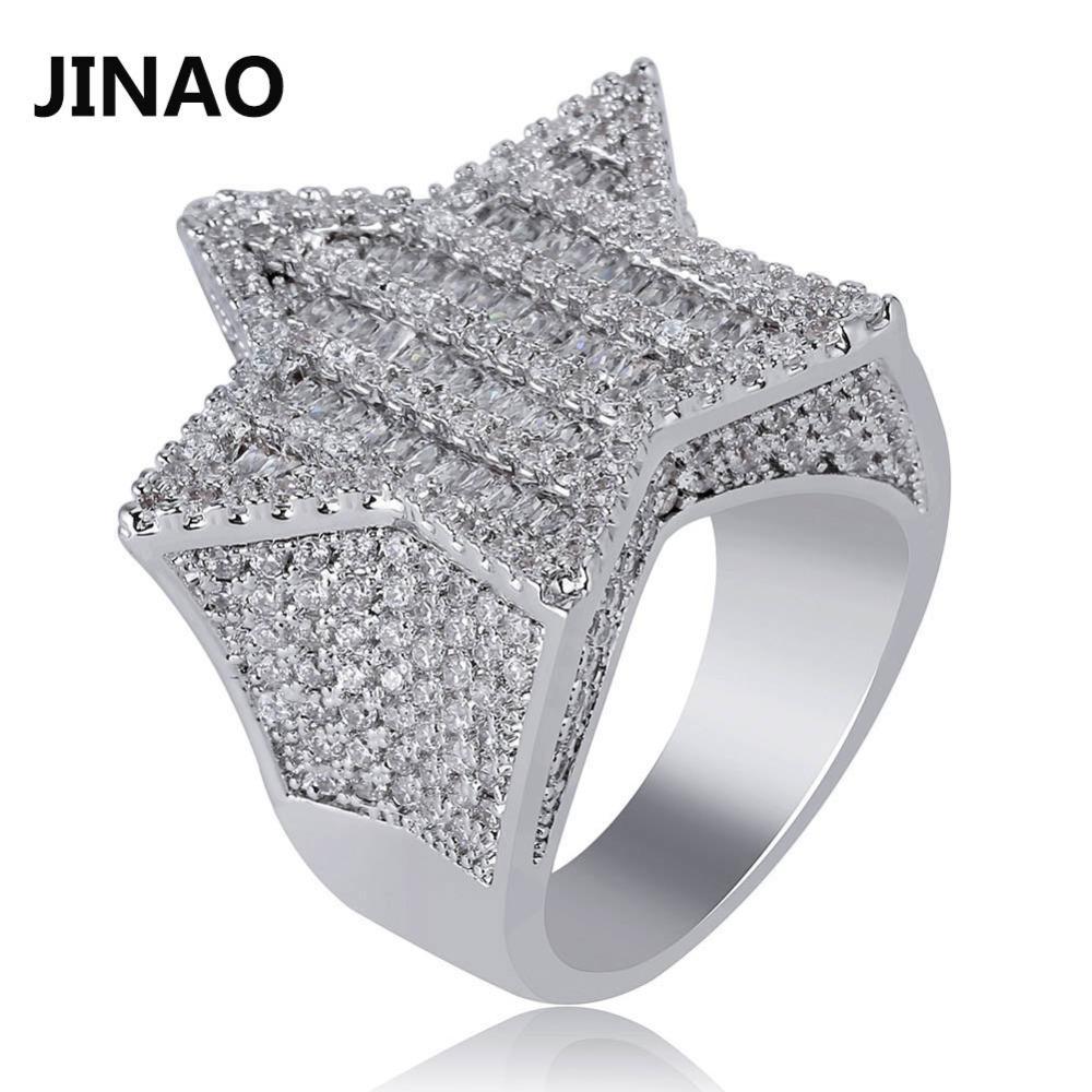 JINAO 새로운 디자인 골드 실버 색상 다섯개 스타 반지 마이크로 포장 큰 지르콘 반짝 이는 힙합 손가락 반지 남자 여자들을위한 선물
