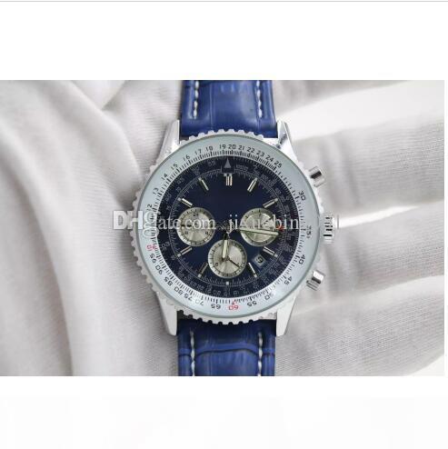 최고 품질의 새로운 브랜드 자동 남성 시계 NAVITIMER TI3 블루는 블루 시계 가죽 1884 패션 남성 명품 시계 무료 SHOPP 다이얼