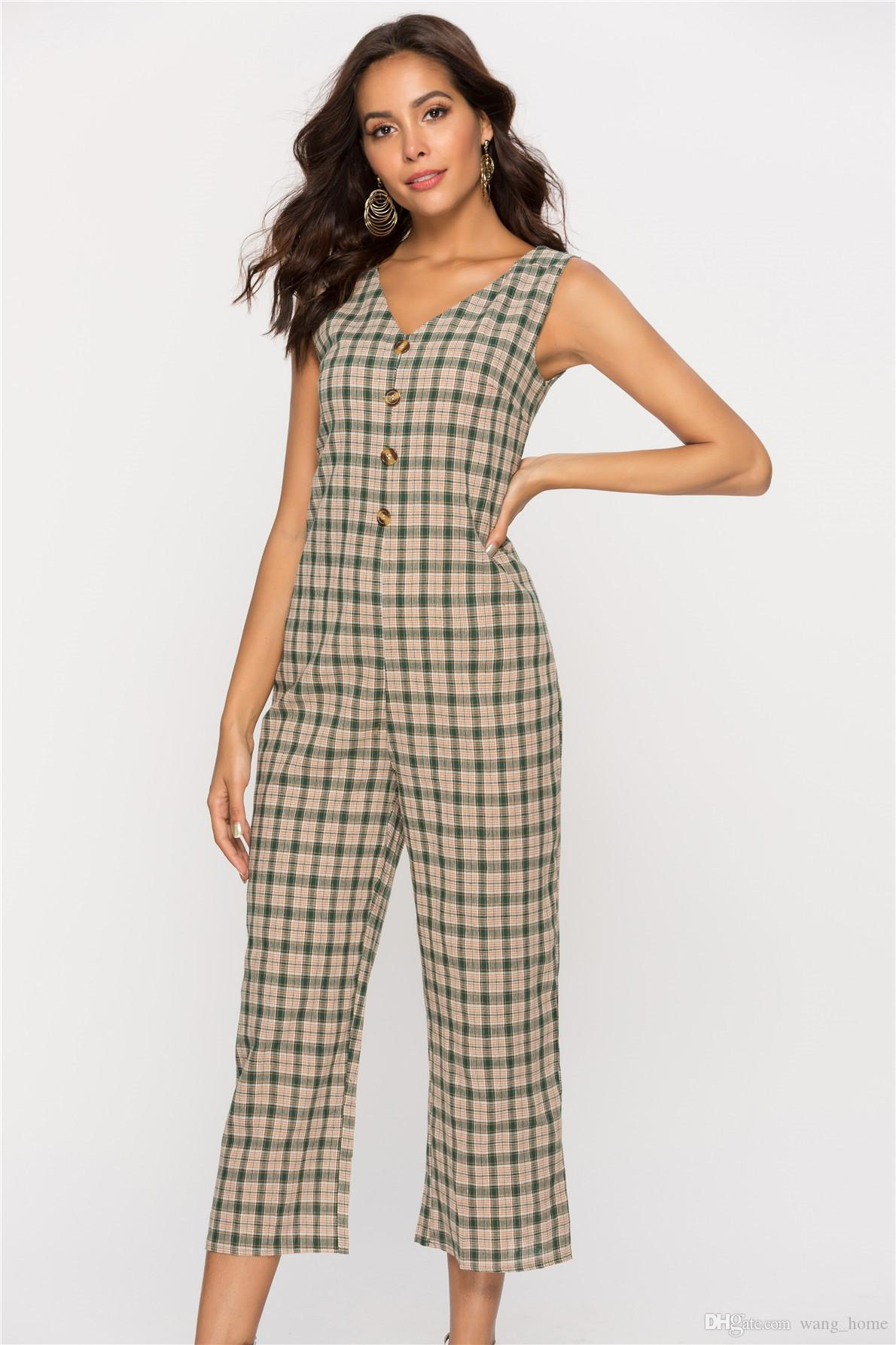 2020 New Casual And Fashion Design Ladies Jumper Ladies V Neck Regular Sleeveless Plaid Pattern Ladies Jumpsuits From Wang Home 18 39 Dhgate Com