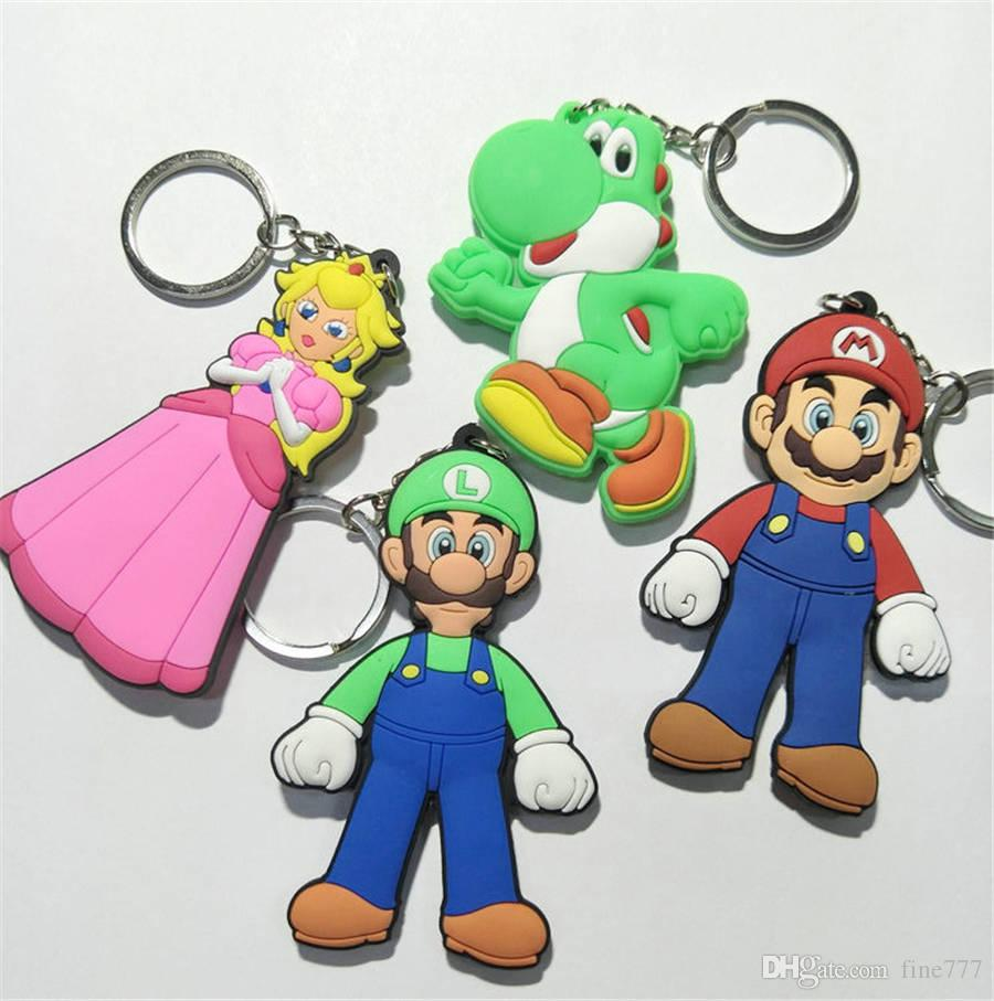 Super Mario Bros PVC action figures double side keychain Mario Luigi Yoshi Princess Characters Model figurines soft PVC Key Chain Pendant