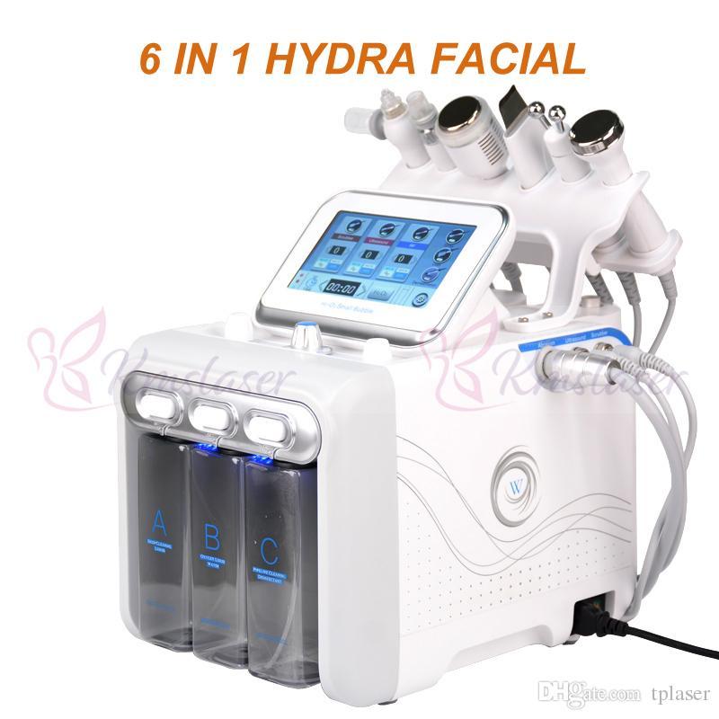 6 em 1 Hydrofacial dermoabrasão Água máquina de oxigênio Jet Peel Hydra do purificador da pele Facial Beauty Limpeza Profunda RF cara Lifting