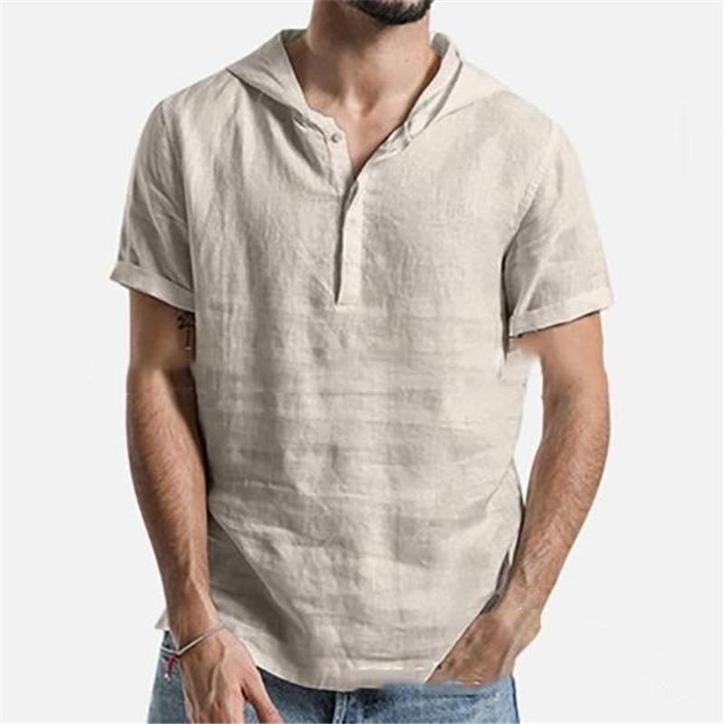 Pure Color Short Sleeve Mens Shirts Fashion Turn Down Collar With Hooded Mens Casual Shirts With Button Summer Clothing