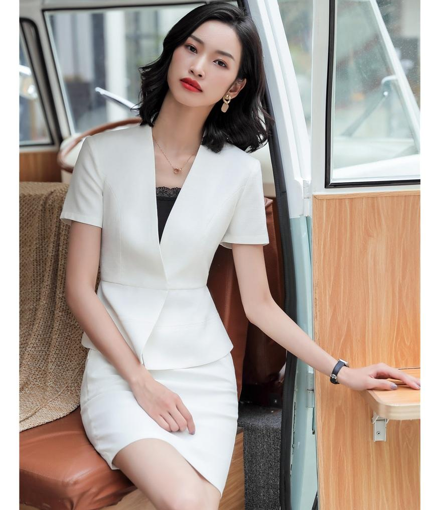 Yaz Moda Kadınlar Etek Suit Beyaz Blazer Ceket ve Takımları Bayanlar İş Elbiseleri İş Stilleri