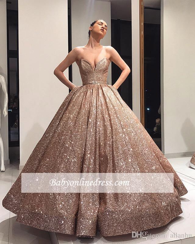 2019 Nuovo Designer Sparkly Oro Rosa Ball Gown Prom Dresses Sweetheart Paillettes Abiti Da Sera Partito Abiti Formali vestido de novia