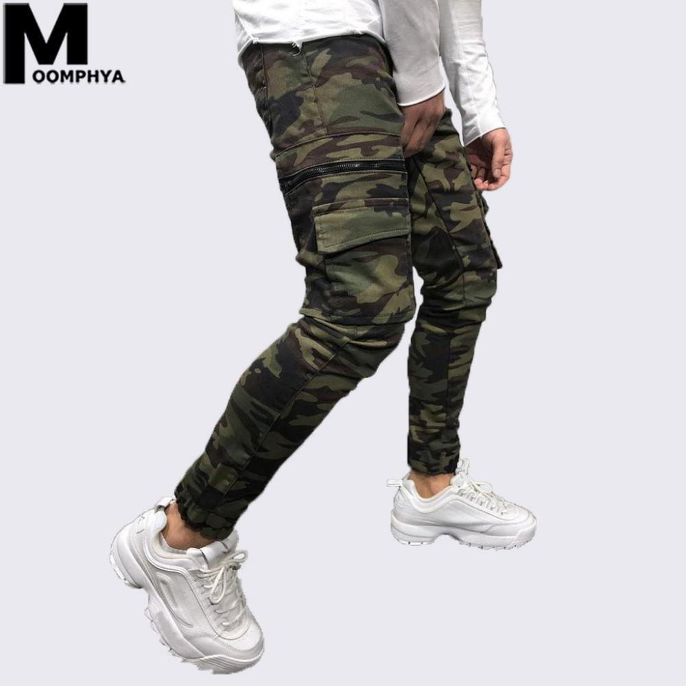Moomphya 2019 New Camo bolsillo skinny jeans hombres Streetwear hip hop con cremallera camoflage hombres jeans Elegantes pantalones cargo biker