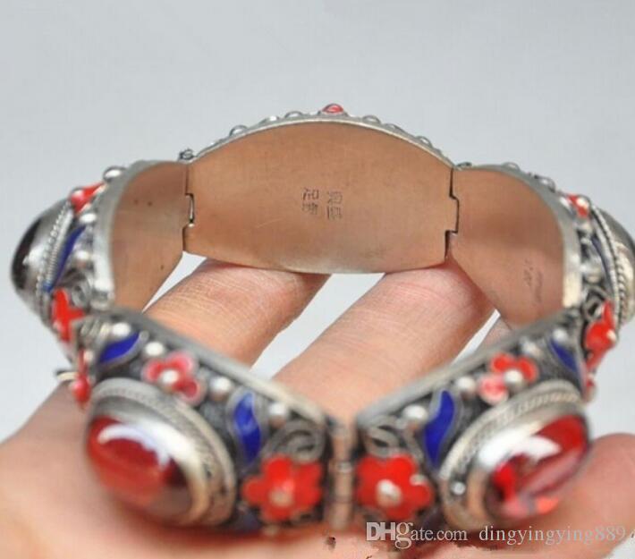 Pulsera 914 +++ Pulsera con incrustaciones de plata del cloisonne del palacio de la dinastía Tibet de China