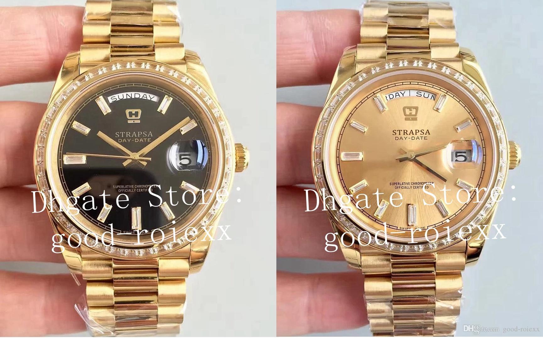 ساعات رجالية للرجال التلقائي Cal.3255 ETA Watch Men's Ew Factory V2 تاريخ الإصدار 228398TBR الشمبانيا الذهبي الأسود الماس الذهب المعصم