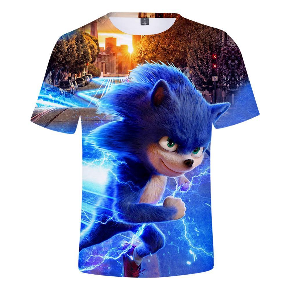 Filme Sonic The Hedgehog 3D Camiseta Meninos / meninas de manga curta dos desenhos animados tshirt engraçado Graphic Tees Kids Clothes Roupa das Crianças