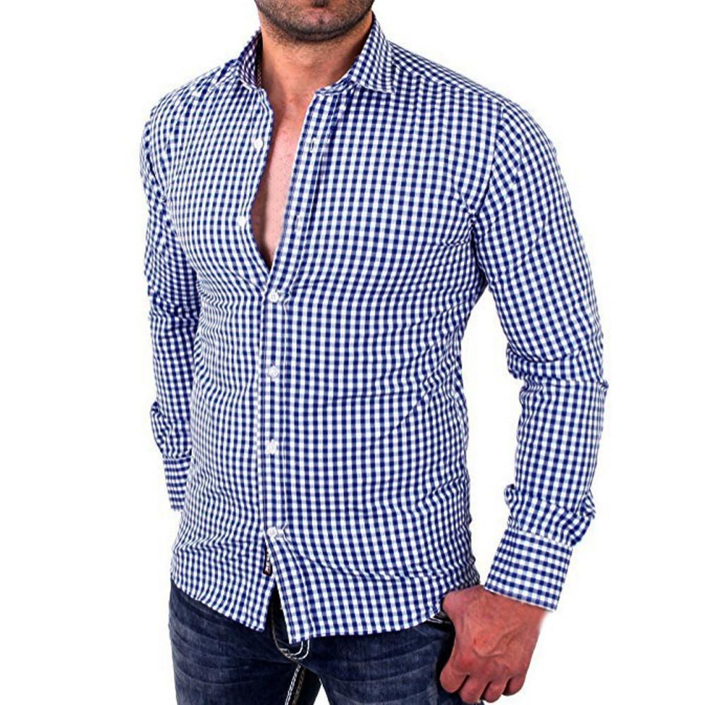 código promocional 6d369 b53a8 Compre 2018 Moda Masculina Camisas Xadrez Masculino Manga Comprida Slim Fit  Business Casual Camisa Camiseta Moda Hombre De Rebecco, $20.55 | ...