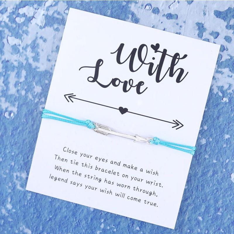 Arrow Knot Friendship Bracelet Bohemian Wish Bracelet Red String of Faith As A Little Gift for Women Men Wish Card Jewelry Gift