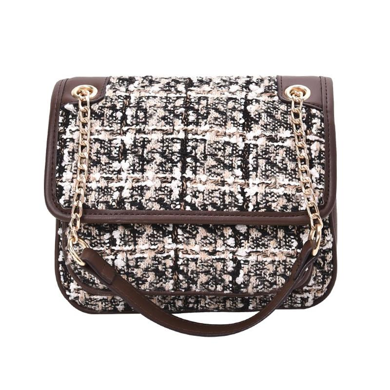 Plaid Duffle Ganchillo Bolsa Hombro Diseñador Bolso Embrague Moda Patchwork Color Tweed Cadena de viaje Diseñador de equipaje Monedero PTDIK