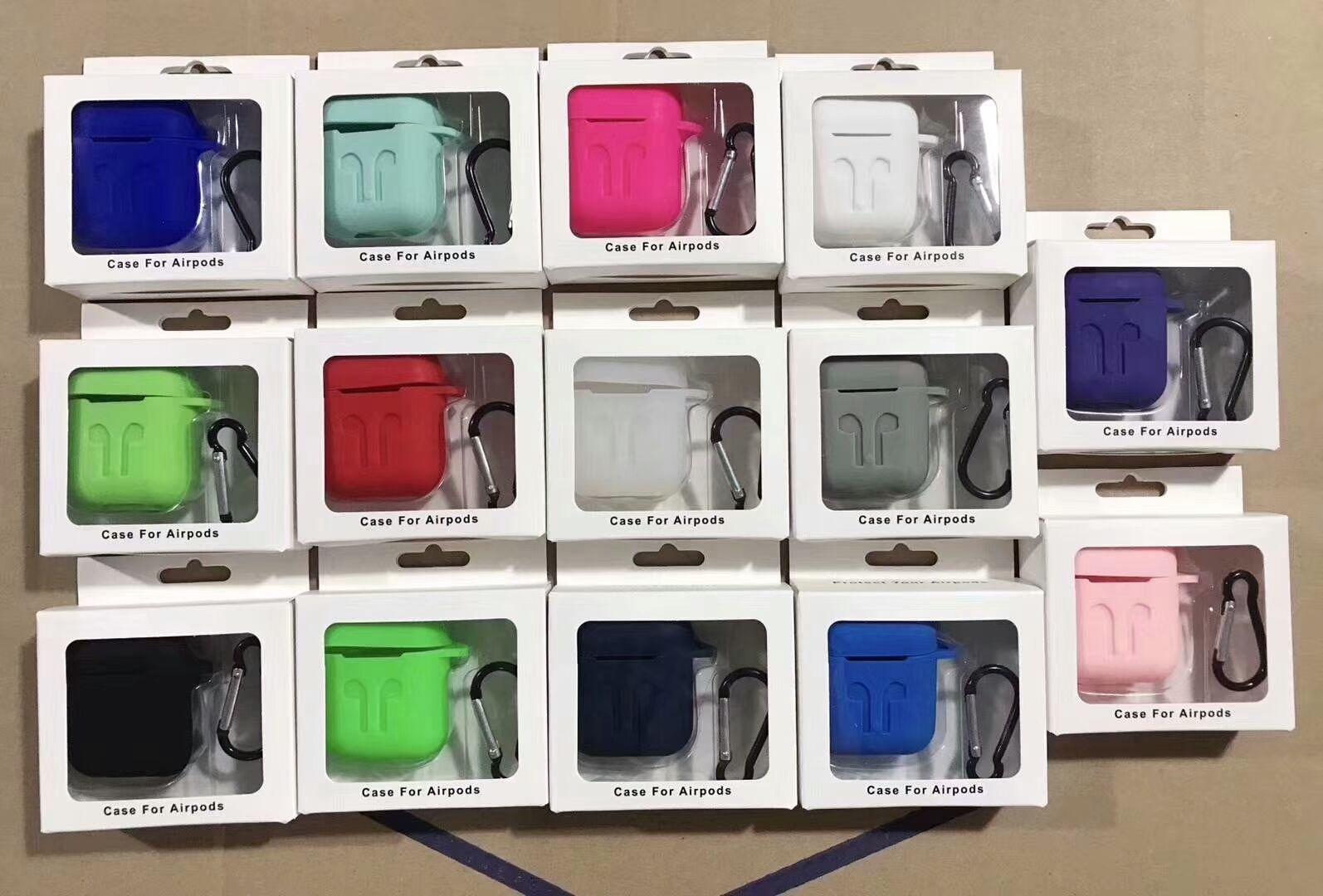 Pour Apple Airpods Etuis Silicone Doux Ultra Mince Protecteur Airpod Couverture Earpod Etui Anti-goutte Avec Crochet Boîte Au Détail