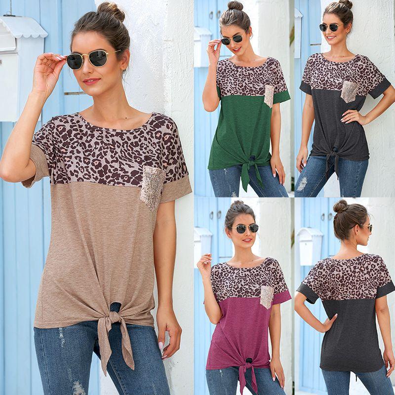 manga corta estampado de leopardo camisas de las mujeres del O-cuello del nudo del arco bolsillos brillo camisa camisas casuales de retazos sueltos