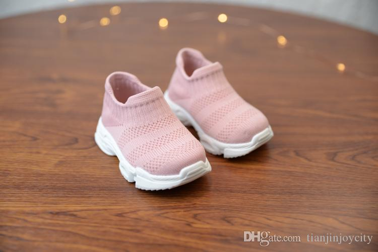 presenting sports shoes 100% authentic New Soft Baby Shoes Fashion Socks Boys Sneakers Pink Girls Shoes Infant  Knitting Toddler Shoes High Top Ankle Flats Shoes Kids Sale Childrens  Trainers ...