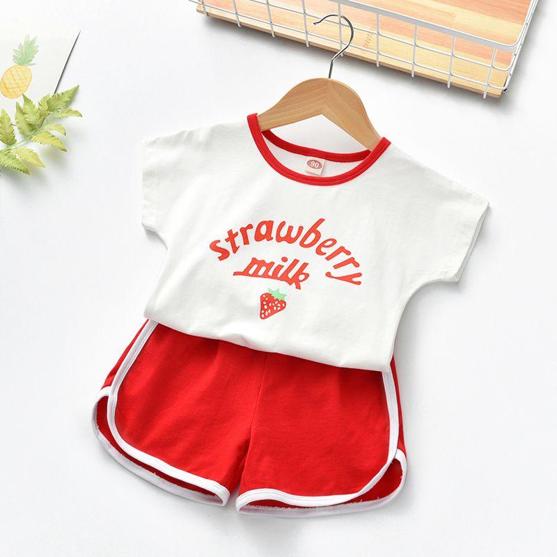Summer Baby Girls Lace Top Shirt Suit Korean Children Clothes Set Kids Strawbery 1-6year