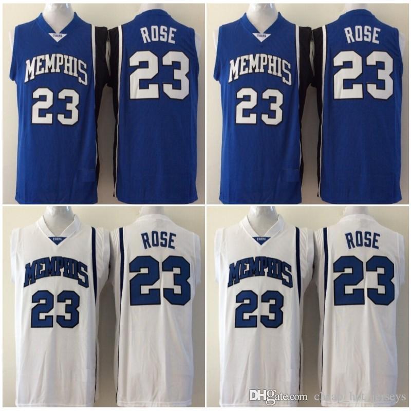 2020 Kaplanlar Derrick Gül Koleji Basketbol Forması Derrick # 23 Rose Üniversitesi Dikişli Formalar Mavi Beyaz Erkek Ucuz S-XXL