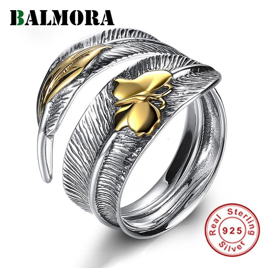 Balmora réel Argent 925 Dragonfly plume Feuille rétro doigt Bagues de femmes Party Boho Punk Fashion Bijoux Déclaration V191129