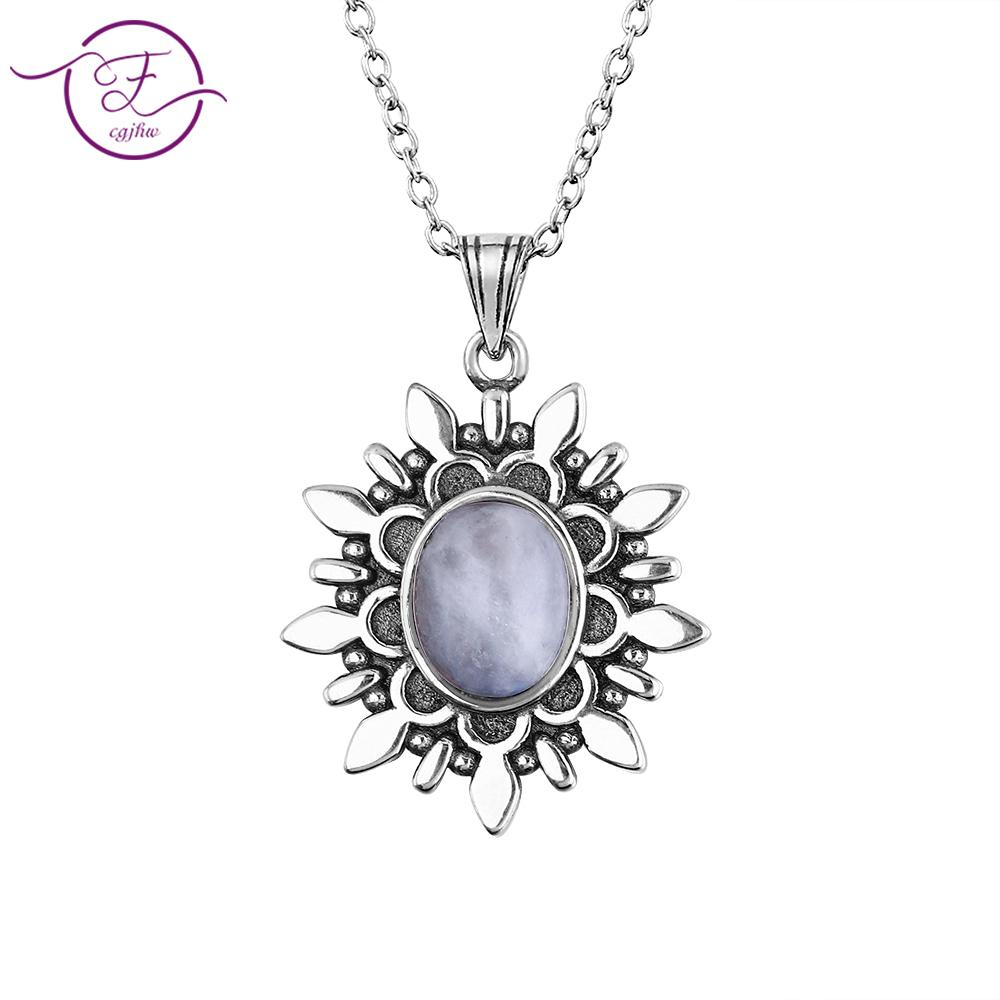 Noble Fashion S925 Sterling Silver Pendant Necklace Oval 7 * 9 September Moonstone Vintage Flower Necklace Engagement Party Gift