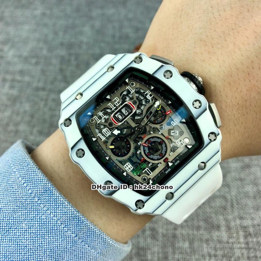 13 stili di lusso di alta qualità RM11-03 Big Data NTPT bianco carbonio Miyota automatico Mens Watch manopola di scheletro di gomma della cinghia Gents orologi sportivi